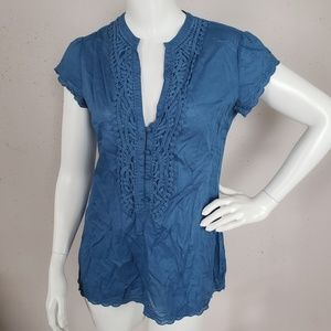 Converse One Star Blue Blouse Women Size S